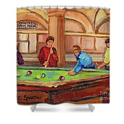 Montreal Pool Room Shower Curtain