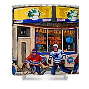 Montreal Pool Room City Scene With Hockey Shower Curtain