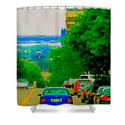 Montreal Skyline Decarie View Of Clock Tower Victoria Pier And Super Hospital Site Carole Spandau Shower Curtain