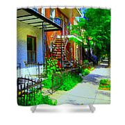Montreal Stairs Shady Streets Winding Staircases In Balconville Art Of Verdun Scenes Carole Spandau Shower Curtain