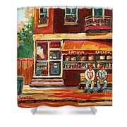 Montreal Street Scene Paintings Shower Curtain
