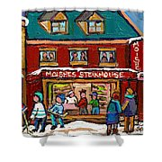 Montreal Winter Hockey At Moishes Shower Curtain