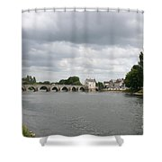 Montrichard Bridge Over Cher River Shower Curtain