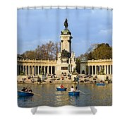 Monument And Lake In Retiro Park In Madrid Shower Curtain