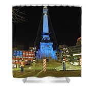 Monument Circle Indianapolis At Night Shower Curtain