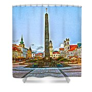 Monument In B.bystrica Shower Curtain