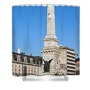 Monument On Restauradores Square In Lisbon Shower Curtain