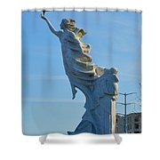 Monument To The Immigrants Statue 2 Shower Curtain