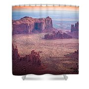 Monument Valley From Hunts Mesa Shower Curtain by Inge Johnsson