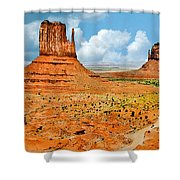 Monument Valley In Spring Panoramic Painting Shower Curtain