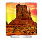 Monument Valley Right Mitten Sunrise Painting Shower Curtain