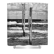 Moody Beach Day Shower Curtain