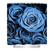 Moody Blue Rose Bouquet Shower Curtain