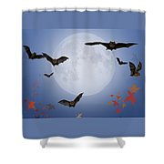 Moon And Bats Shower Curtain