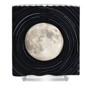Moon And Startrails Shower Curtain
