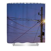 Moon And Wires Shower Curtain