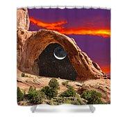 Moon In Corona Arch Shower Curtain