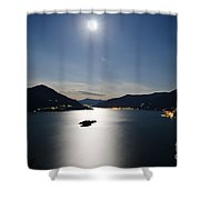 Moon Light Reflected Over An Alpine Lake Shower Curtain