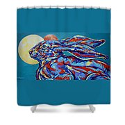 Moon Mars Rabbit Shower Curtain