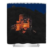 Moon Over Burg Katz Shower Curtain