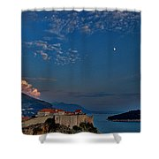 Moon Over Dubrovnik's Walls Shower Curtain