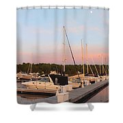 Moon Over Egg Harbor Marina Shower Curtain