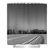Moon Over Ice Road Shower Curtain