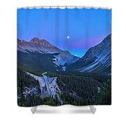 Moon Over Icefields Parkway Shower Curtain