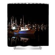 Moon Over Marina 1 - Sheepshead Bay Brooklyn New York Shower Curtain