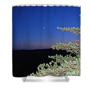 Moon Over Mountain Shower Curtain