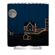 Moon Over Nubble Light Shower Curtain