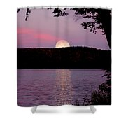 Moon Over Parks Pond Shower Curtain