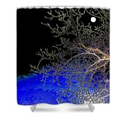 Moon Over Sapphire Pond Shower Curtain