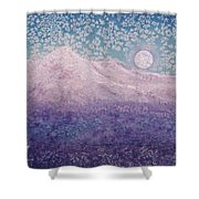 Moon Over Snowy Peaks Shower Curtain