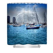 Moon Over The City Harbor Shower Curtain