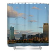 Moon Over The Prudential In Boston Shower Curtain
