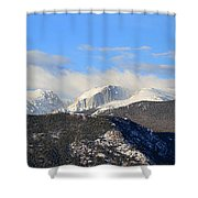 Moon Over The Rockies - Panorama Shower Curtain