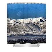 Moon Over The Snow Covered Mountains Shower Curtain