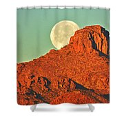 Moon Over Tucson Mountains Shower Curtain
