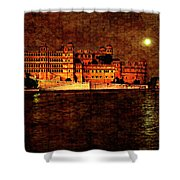 Moon Over Udaipur Painted Version Shower Curtain
