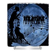 Moon Party Shower Curtain