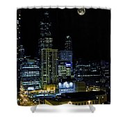 Moon Rise Over Downtown Chicago And The Willis Tower #2 Shower Curtain