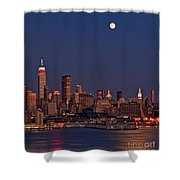 Moon Rise Over Manhattan Shower Curtain