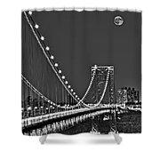 Moon Rise Over The George Washington Bridge Bw Shower Curtain