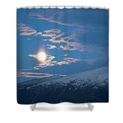 Moon Rise Over The Presidential Range Shower Curtain