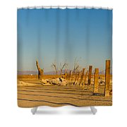 Moon Rise Over Waste Land Shower Curtain