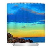 Moon Rising In New England Shower Curtain