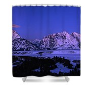 Moon Sets Over Behind The Tetons Panorama Shower Curtain