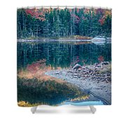 Moon Setting Fall Foliage Reflection Shower Curtain