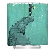 Moon Steps Shower Curtain by Eric Fan